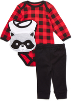 Bon Bebe Red & Black Plaid Bodysuit Set