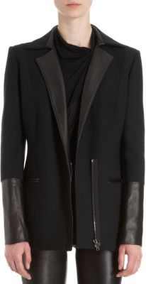 Helmut Lang Partial Leather Sleeve Zip Blazer