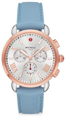 Michele Sport Sail Two-Tone & Silicone Strap Chronograph Watch