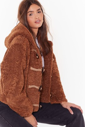 Nasty Gal Womens Can I Toggle Along Faux Shearling Coat - Camel