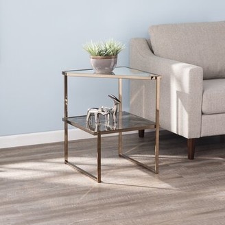 Everly Quinn Mirrored with Faux Stone Glass End Table