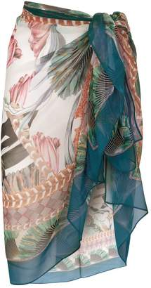 Maryan Mehlhorn Silk Tropical Print Pareo