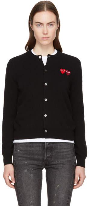 Comme des Garcons Black Double Heart Cardigan