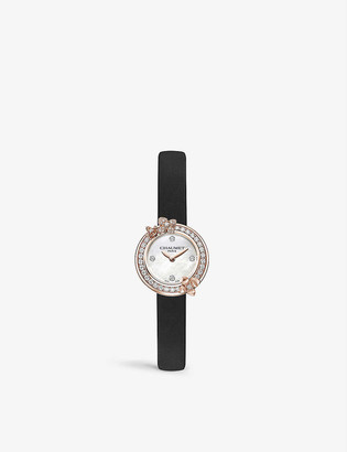 Chaumet W20811-11N Hortensia Eden small 18ct rose-gold, 0.46ct brilliant-cut and mother-of-pearl diamond quartz watch