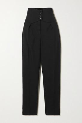 Saint Laurent Button-detailed Wool-twill Straight-leg Pants - Black