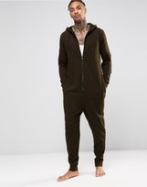 Asos Loungewear Jersey Onesie In Khaki