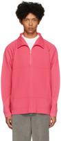 Issey Miyake Homme Plisse Pink Pleated Half-Zip Pullover