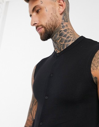 ASOS DESIGN muscle fit jersey sleeveless shirt with grandad collar in black