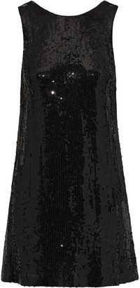 Alice + Olivia Kamryn Draped Sequined Georgette Mini Dress