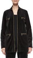 Joan Vass Velour 4-Pocket Long Jacket, Plus Size