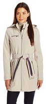 Tommy Hilfiger Women's Soft Shell Rain Coat with Detachable Hood