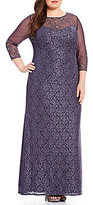 Alex Evenings Plus 3/4 Illusion Sleeve Beaded Lace Gown