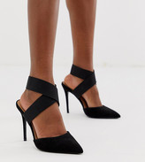 Asos Design DESIGN Wide Fit Payback elastic high heels in black