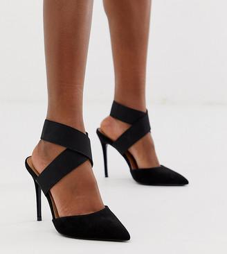 ASOS DESIGN Wide Fit Payback elastic high heels in black