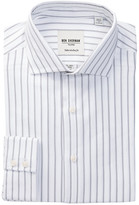 Ben Sherman Grey & Black Herringbone Stripe Trim Fit Dress Shirt