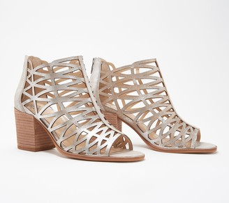 Vince Camuto Leather Cut-Out Heeled Sandals- Kevston