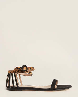 Gianvito Rossi Black Ankle Strap Suede Flat Sandals
