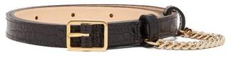 Hillier Bartley Crocodile-embossed Slim Leather Belt - Womens - Black Gold