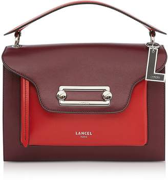 Lancel Clic Cassis/Red Leather Large Crossbody Bag