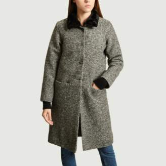 agnès b. Gray Wool Darcia Fur Collar Coat - 1 | wool | gray