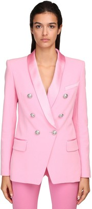 Balmain Double Breasted Crepe & Satin Jacket