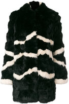 Blugirl striped hooded fur coat - women - Rabbit Fur/Polyester - 42
