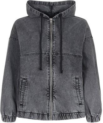 boohoo Hooded Zip Denim Bomber Jacket
