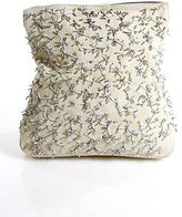 Tod's Tods Beige Suede Beaded Design Small Fold Over Clutch Handbag
