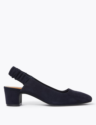 Marks and Spencer Suede Block Heel Square Toe Slingback Shoes