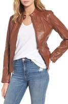 GUESS Women's Collarless Leather Moto Jacket
