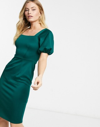 Closet London square neck pencil midi dress with puff sleeve in emerald green
