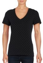 Lord & Taylor Austin Dot Short Sleeve V-Neck Tee