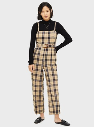 Miss Selfridge Black and Brown Check Print Strappy Pinafore Jumpsuit