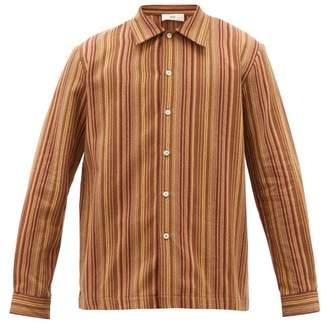 Séfr Ripley Jacquard-striped Brushed Cotton-twill Shirt - Mens - Brown Multi