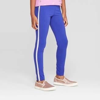 Cat & Jack Girls' Side Stripe Leggings - Cat & JackTM Blue XL