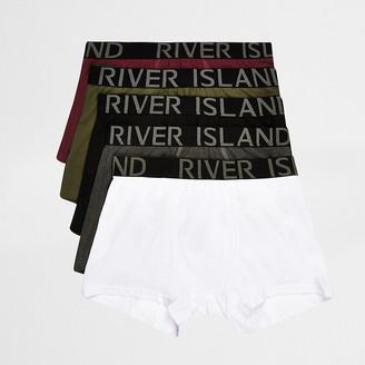 River Island Khaki multicoloured trunks 5 pack