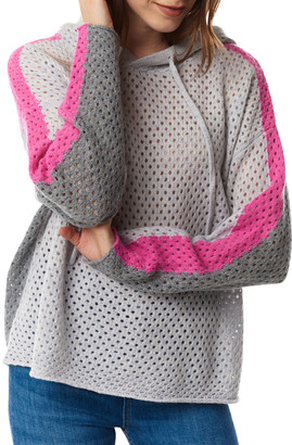 LISA TODD Freedom Arm Stripe Hooded Open-Stitched Sweater