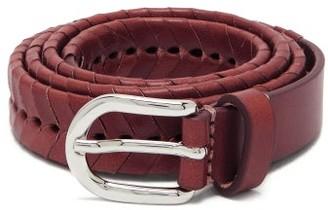Isabel Marant Pagoo Braided Leather Belt - Burgundy