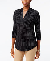 Charter Club Petite Dot-Print Pleated Top, Only at Macy's