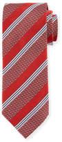 Eton Wide Broken Stripe Silk Tie, Red