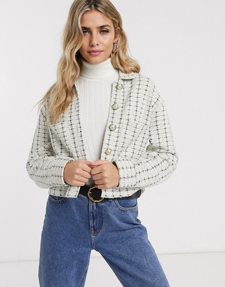 Miss Selfridge boucle blazer with faux pearl buttons in ivory-Cream