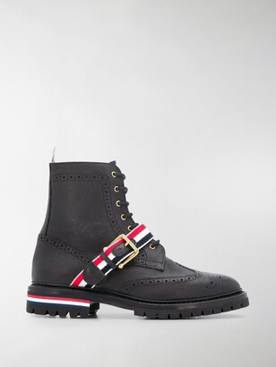 Thom Browne Stripe Wing Tip Boots