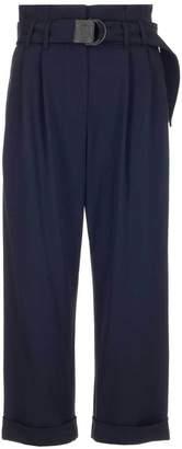 Brunello Cucinelli Clasp Belt Wide-Leg Cuffed Trousers