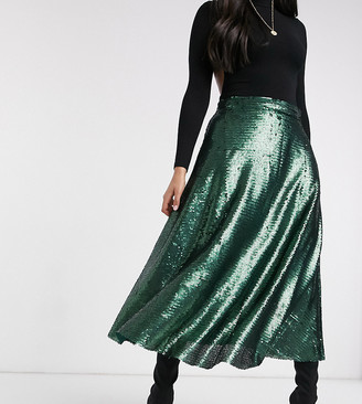 NATIVE YOUTH a-line midi skirt in green sequin
