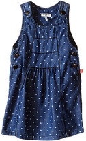 Ikks Chambray Denim Jumper Dress with Heart Print & Adjustable Straps (Infant/Toddler)