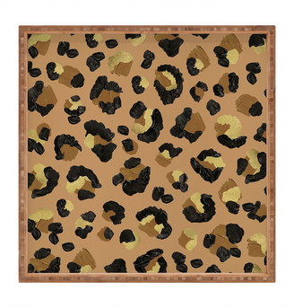 Deny Designs Cat Coquillette Leopard Print Neutral Square Tray