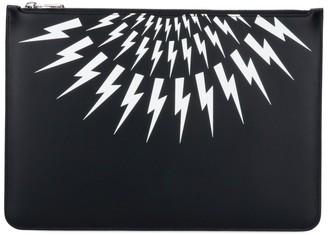 Neil Barrett Signature Thunderbolt-Print Clutch