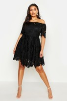 boohoo Plus Boutique Off The Shoulder Lace Skater Dress