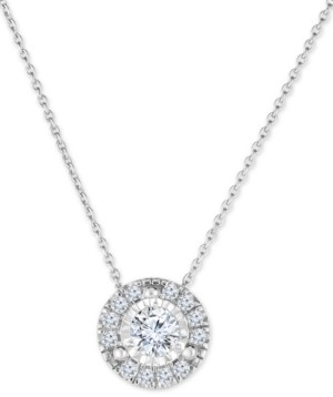 """TruMiracle Diamond Halo 18"""" Pendant Necklace (1/2 ct. t.w.) in 14k White Gold"""