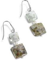 Antica Murrina Veneziana Atelier Byzantium - Grey Murano Glass & Silver Leaf Dangling Earrings